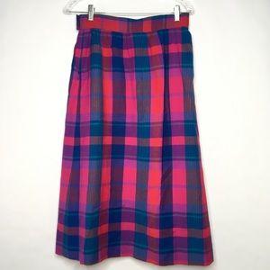 Vintage Pendleton Wool Plaid Skirt Pleated